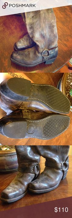 Beautiful distressed leather Frye boots Knee-high distressed gray-brown leather boots in great used condition. Fryes last FOREVER and these babes were hardly worn. Frye Shoes Heeled Boots