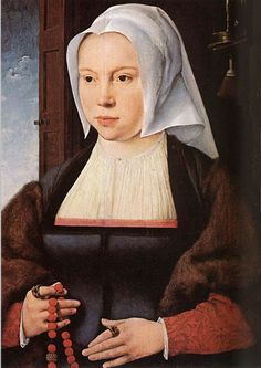 Joos Van Cleve (1520-1527) Uffizi (Florence)   Blue gown, front fastened- black trim with mink lining on the big turned back sleeves, over a tawny kirtle.