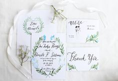 Beautiful watercolor invitation suite by Meilifluous Calligraphy   Design