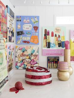 Ashley longshore contemporary art, – Chic Home Office Design Office Wall Design, Creative Home, My New Room, Wall Collage, Wall Art, Art Studios, House Colors, Decoration, Pop Art