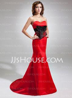 Evening Dresses - $132.99 - Mermaid Sweetheart Sweep Train Organza Satin Evening Dress With Sash (017016729) http://jjshouse.com/Mermaid-Sweetheart-Sweep-Train-Organza-Satin-Evening-Dress-With-Sash-017016729-g16729