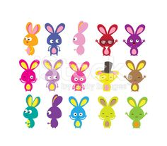 Happy Easter bunny colorful set royalty-free stock vector art
