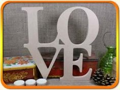 LOVE Sign MDF Square 28cm - Large MDF Word/Sign x 1