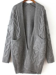 Grey Long Sleeve Cable Knit Pockets Cardigan -SheIn(abaday)