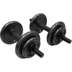 Gold's Gym 40lb Adjustable Dumbbell, Set of 2. 40lb set includes two 3lb handles, four 2.5lb plates, four 6lb plates and 4 collars. Set features ergonomic grips, comfort handles. Plates are made of solid cast iron with a baked enamel finish. Different weight plates allow you to create several weight combinations with the dumbbells. Weights can be gradually added as the workouts intensify •Rust- and maintenance-free.