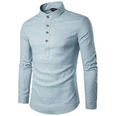 Mens Casual Linen V-neck Chinese Collar Long Sleeve T-shirt Fashion Solid Color Tops - Newchic Mobile.