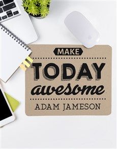 Everyday will be an awesome day with this personalised make today awesome mouse pad on your desk! The rectangular mouse pad thick) features an inspiring 'Make today awesome' design and can be personalised with his name. Christmas Gift For Your Boyfriend, Christmas Gifts For Him, Gifts For Your Boyfriend, Personalized Stationery, Personalized Gifts, Same Day Delivery Service, Corporate Gifts, Cool Designs, Awesome