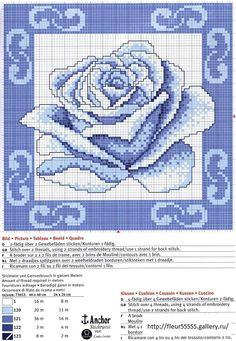 blue rose cross stitch