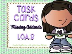 32 Task Cards- Missing Addends Addition & Subtraction Equations  1.OA.8 I use these with my kids after I introduce the concept. When students are working on math by themselves (during a concept that is a version of daily 5 for math), they can work through these task cards.
