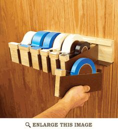 Wall Tape Dispenser Woodworking Plan, Shop Project Plan | WOOD Store My father made something similar and used plastic bins to hold screws and other misc stuff.