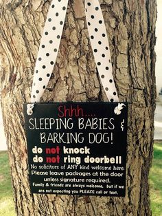 This adorable No soliciting sign is adorable for new parents who have reactive dogs! No one will want to knock on your door for fear of