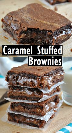 Caramel Stuffed Brownies - Recipes Made Easy Brownie Desserts, Brownie Recipes, No Bake Desserts, Cookie Recipes, Dessert Recipes, Kinds Of Desserts, Just Desserts, Delicious Desserts, Chocolate Cake Mixes