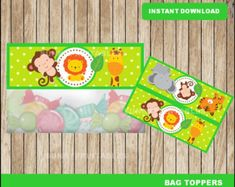 Safari bags toppers; printable Safari baby shower treat bags toppers, Safari party toppers instant download