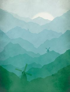 Blue Green Mountains and windmills | Eve Sand via Etsy