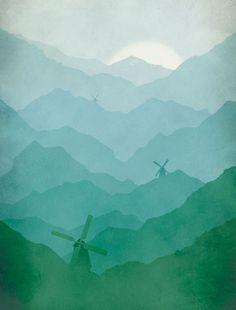 Children Decor Windmills and Mountains Landscape par evesand, $18,00
