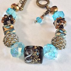 Turquoise Bronze Combo Large Bead Bracelet by DESIGNBYMONNY, $18.00
