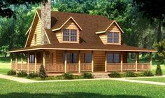 My dream!! The perfect house with a stone fireplace and a wrap-around porch! All it needs is a couple of rocking chairs and a swing.