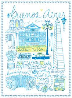 A few cornerstones of Buenos Aires, Argentina Illustration Blume, Travel Illustration, Travel Maps, Travel Posters, Travel Photos, Argentine Buenos Aires, Illustration Inspiration, Bs As, Poster S