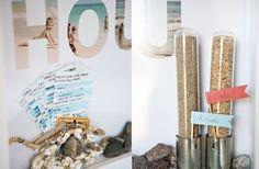 Reisletters  Knip of snijd dan letters uit je afgedrukte foto's en bevestig ze op de muur. Tip: vorm met de uitgeknipte letters de naam van je bestemming. Beeld: designaglow.com