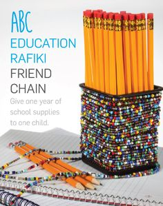 This is the ABC rafiki chain, it is the official rafiki chain this year of education. What's awesome about them is that not only the artisans that have made this get paid to have a better life, but when you buy the ABC chain it gives one year of school supplies to a child.