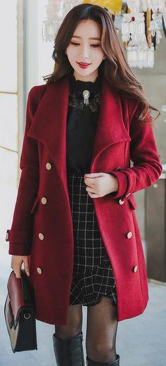 StyleOnme_Gold Button Double Breasted Tailored Coat #winered #koreanfashion #feminine #elegant #falltrend #coat #wool #kstyle #seoul #dailylook #stylish #datelook