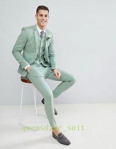 Men's Light Green Suit Slim Fit Groom Casual Wedding Suit Summer Tuxedos Custom