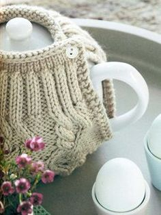 Cables AND tea cozy in one project?  Huzzah!  Knits to Give: Book by Debbie Bliss | Knitting Fever