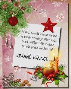 vanoce_vanocni_prani Christmas Wishes, Merry Christmas, Xmas Cards, Advent, Decoupage, Santa, Wallpaper, Blog, Inspiration