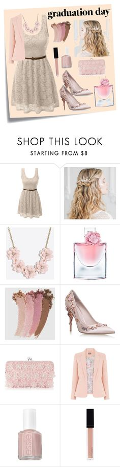 """#Graduation #Day :))"" by vehapi-miralema ❤ liked on Polyvore featuring Post-It, LE3NO, J.Crew, Lancôme, Gucci, RALPH & RUSSO, Adrianna Papell, Essie and Witchery"