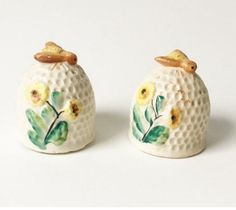 ≗ The Bee's Reverie ≗  Bee hive Salt and Pepper Shakers from theOceanBlueCo on Etsy