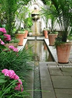 a rill, long pool, and wall fountain lengthen and focus the view -- A visit to Chanticleer: Hydrangeas & House Garden Digging Water Features In The Garden, Garden Features, Landscape Design, Garden Design, Garden Fountains, Wall Fountains, Dream Garden, Garden Inspiration, Beautiful Gardens