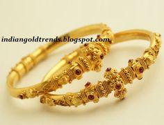 Latest Indian Gold and Diamond Jewellery Designs: Gold Bangles/Kadas