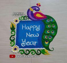 Diya Rangoli, Peacock Rangoli, Simple Rangoli, Free Hand Rangoli Design, Rangoli Designs, New Year Special, Happy New Year, Festival Rangoli, Decoration For Ganpati