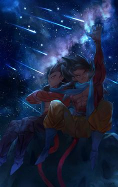 Goku and Vegeta supobi (? Dragon Ball Gt, Super Anime, Anime Friendship, Dragon Images, Z Arts, Animes Wallpapers, Anime Art Girl, Son Goku, Geek