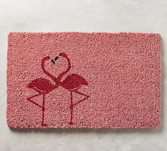 pink flamingo door mat