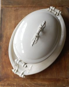 Antique White English Ironstone Tureen with Underplate