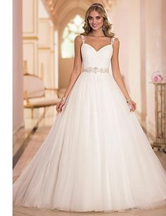 A-line Sweetheart/Straps Sweep/Brush Train Wedding Dress (Tulle) – USD $ 249.99