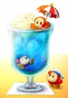 Waddle Dee and Bandana Dee in Ice Cream Sundae via Pixiv #WaddleDee #Kirby #Nintendo