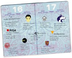 A passport resume/CV! Love this. This concept works especially well considering that the person's work experience is all over the map.
