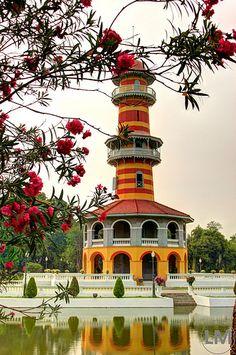 Bangpa-In Palace Lighthouse at Ayutthaya Province, Thailand