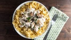 Slow-Cooker Chicken Stroganoff - This creamy comforting chicken dish is made easy in the slow cooker. Crock Pot Slow Cooker, Crock Pot Cooking, Slow Cooker Recipes, Crockpot Recipes, Cooking Recipes, Chicken Recipes, Crock Pots, Cooking Ideas, Slow Cooker Chicken Stroganoff