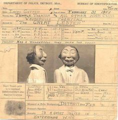 Detroit police booked a ventriloquist's dummy in 1924.