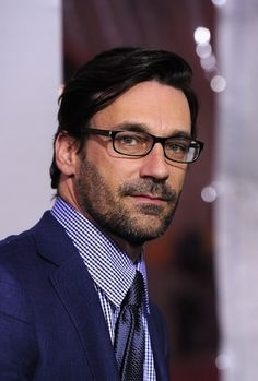 Jon Hamm rocking glasses and a beard. Just marry me now please?