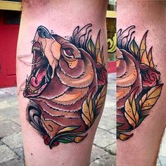 Bear Tattoo by Alberto Megina #bear#neotraditionalbear #neotraditional#neotraditionalartist #spanishartist#AlbertoMegina