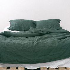 EMERALD Natural Linen Bed Set: Duvet Cover + 2 pillow cases (US Queen size, US…