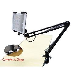 Xcellent Global Adjustable Hands Free Tablet Holder Mount Stand Telescopic Rack With Charge Cables and A Bonus Free 1.5 M USB Cable Included M-CA015$23.00