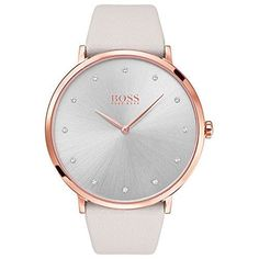 Buy Pale Grey/White HUGO BOSS Women's Eclipse Leather Strap Watch from our Women's Watches range at John Lewis & Partners. Sport Watches, Watches For Men, Ladies Watches, Hugo Boss Watches, Swarovski, Swiss Army Watches, Boss Black, Stylish Watches, Luxury Watches