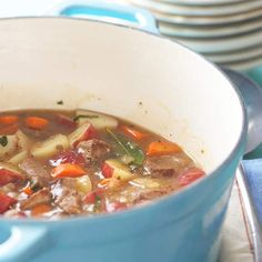 Irish Stew: Tender chunks of lamb, simmered in a rich broth with turnips, potatoes, carrots, and onions, make this classic Irish stew nice and hearty. Pair it with traditional Irish soda bread
