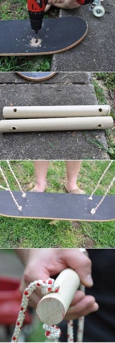 Schommel van een oud skateboard
