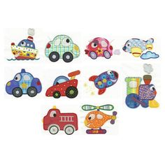 Cars Boats Trains Applique Machine Embroidery Designs | Designs by JuJu